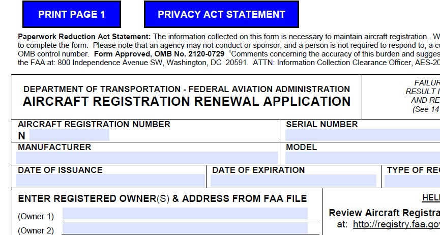 FAA Aircraft RE-Registration AC FORM 8050-1B - FAA Forms - Hot Air ...